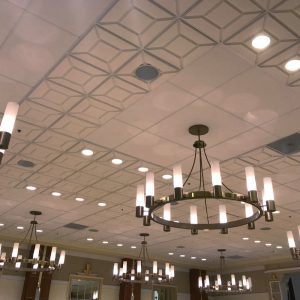 CONTOUR acoustic foam ceiling tiles in a dining / ballroom application.