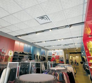 Harmoni tartan pattern acoustical foam ceiling tiles in a retail store